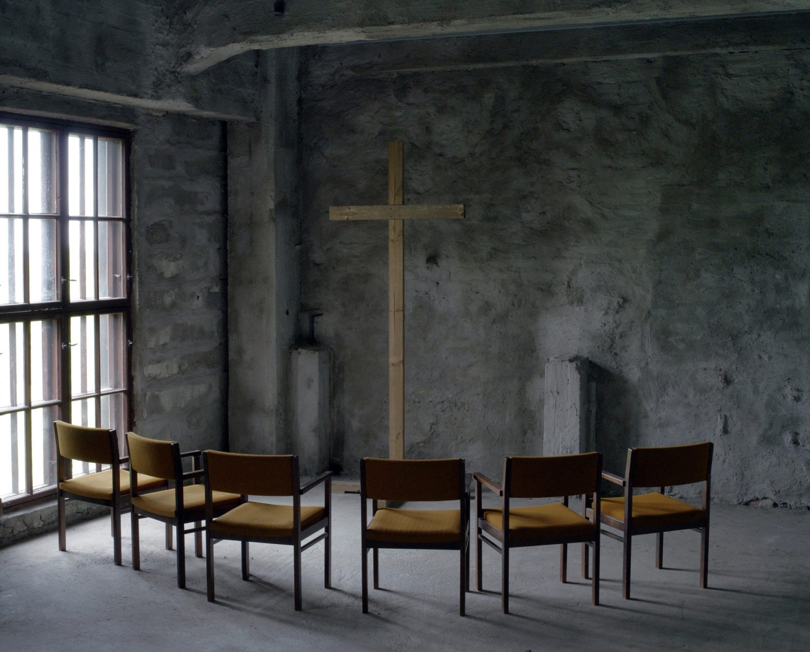 "Kasaniya (Tracks), c-print, 100x120, 2013 / Finland. North Karelia, Outokumpu. The chapel in the ""Mining Museum""."
